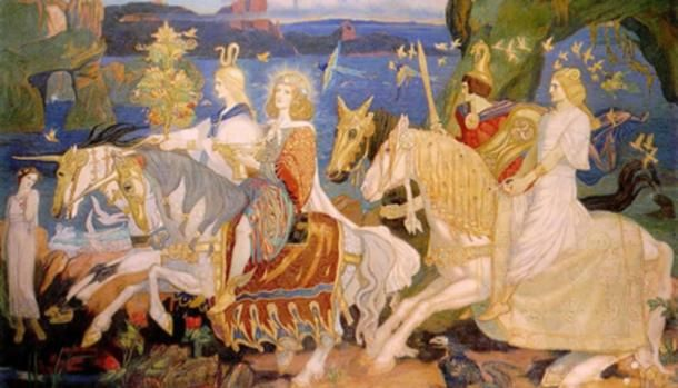 Riders of the Sidhe. (1911) John Duncan. This is an imaginary representation of what the famous Irish 'fairy people' the Tuatha Dé Dannan, may have looked like.
