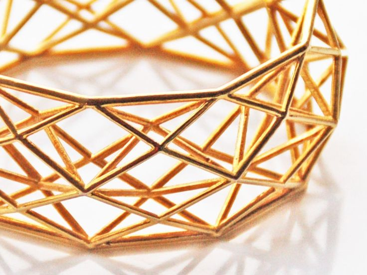 Brass Bracelet Constructionist | 3D Printing Shop | i.materialise