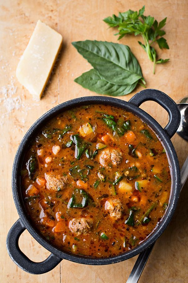 Italian Meatball Minestrone Soup by The Cozy Apron