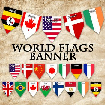 """Flags of the World Banner This listing is for a PRINTABLE PDF file for the """"World Flags"""" Banner, as shown. You will receive 2 PDF files. You will receive 58 pages with 1 pennant each, measuring approximately 7"""" x 10"""". Each banner piece has the name of the country on it to easily identify the country."""