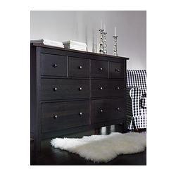 HEMNES 8-drawer dresser - black-brown - IKEA