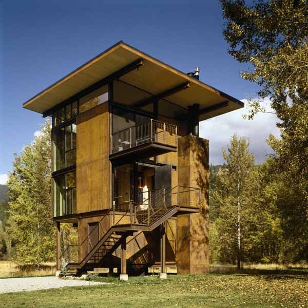 Unique steel cabin in the woods The Delta Shelter is designed by Olson Kundig Architects, an srchitectural design studio in Seattle. 1,000 square foot cabin is located in Mazama in the Methow Valley o