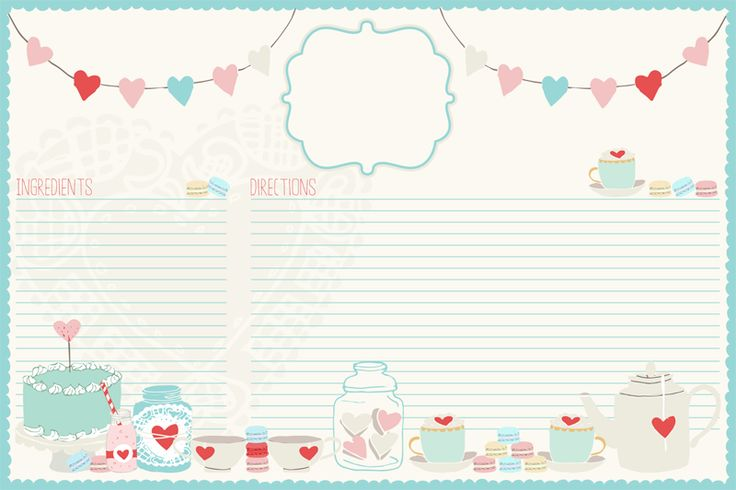 """une adorable carte recette aux couleurs tendres... """"petit plus"""" : utilisez-la aussi pour d'autres textes, pour un journaling, par exemple... """"petit plus"""" 2 : vous pouvez aussi y noter une """"recette"""" bien différente, comme celle de l'amour (vous en trouverez une dans nos Valentine's freebies)"""