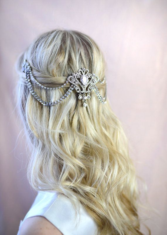 Bridal Hair Chain Grecian Draped haircomb by LottieDaDesigns