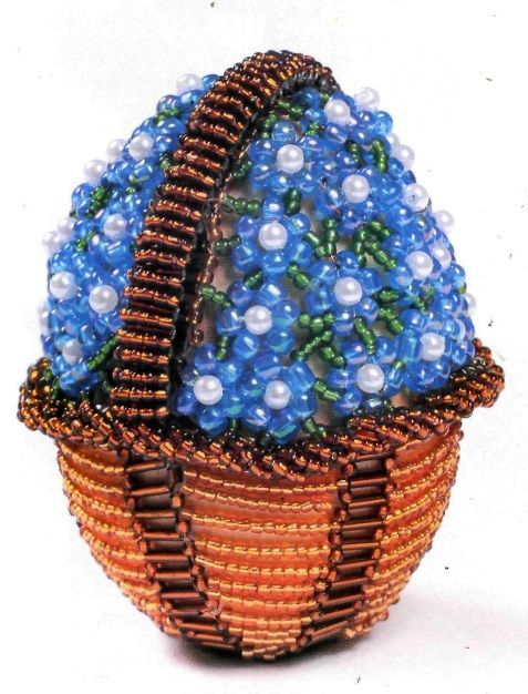 Beaded egg with forget-me not flowers Basket PATTERN