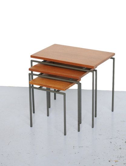 Cees Braakman; Teak and Enameled Metal Nesting Tables for Pastoe, 1950s.