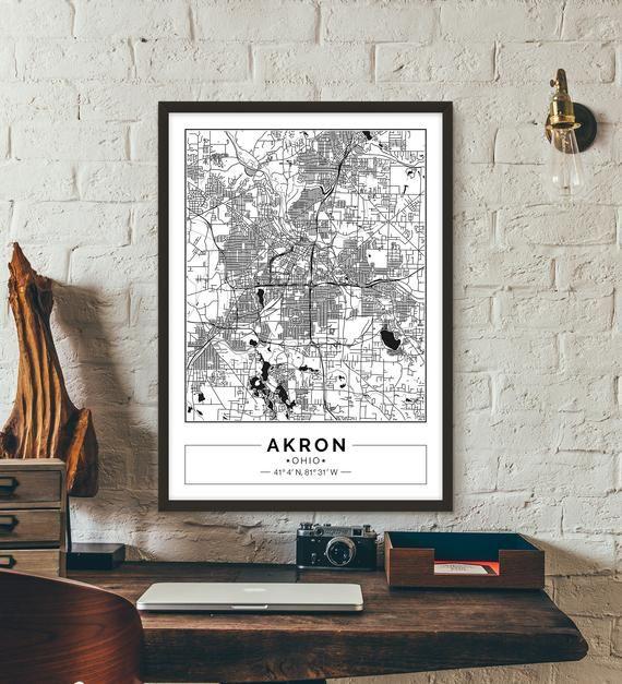 Akron Ohio City map Poster Printable Print Street map Wall