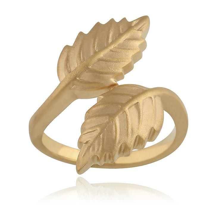 Feuilles Ring. Sand blasted 14 karat yellow gold.
