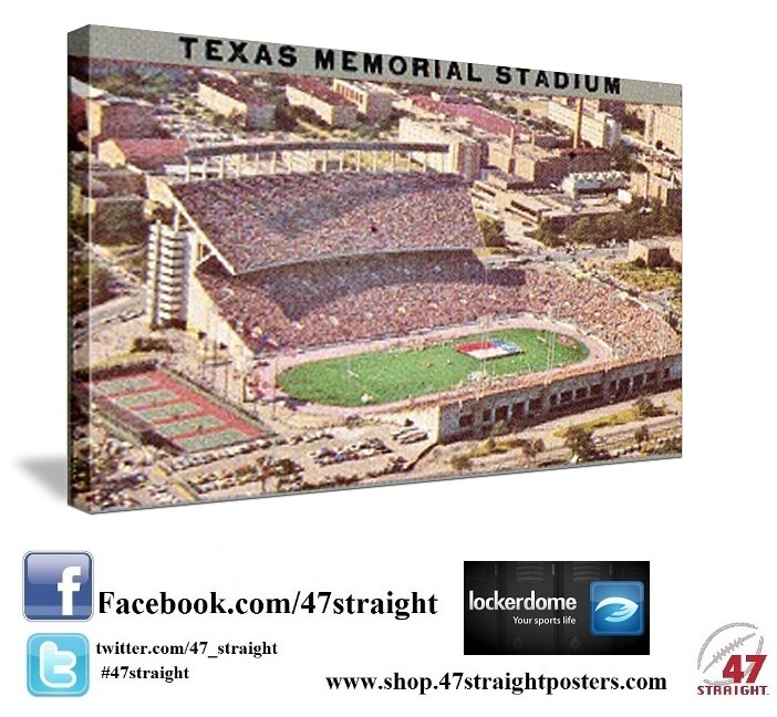 Vintage Texas Memorial Stadium canvas art. Perfect for a game room or office. Father's Day Gift ideas for Texas Longhorn fans. Unique Texas Father's Day gifts made from historic Texas football tickets. 47 STRAIGHT.™ Game room sports art, ROW 1™ vintage tees, and ceramic drink coasters made from over 2,000 historic sports tickets. #fathersdaygifts #giftideas #fathersday2013 Best Father's Day gifts on Pinterest.