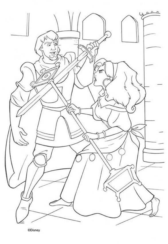 Esmeralda And Phoebus 2 Coloring Page Color This Picture Of With The Colors Your Choice