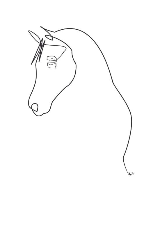 Horse line Art Print by Quibe