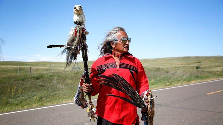 Waki Little Thunder of the Rosebud Sioux Tribe returns to camp after a march to the proposed route of the Dakota Access Pipeline near the Standing Rock Reservation. The marches are an opportunity to not only build momentum for the movement and attract media attention, but also for prayer, ceremony, and celebration.