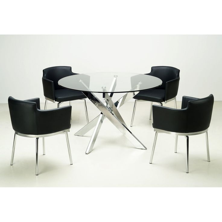 Chintaly Dusty 5 piece Round Glass Dining Table Set White - CTY454-4