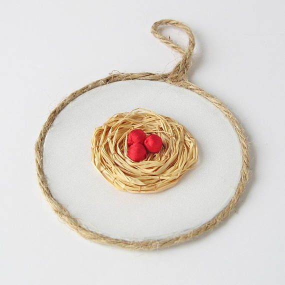Christmas ornament bird's nest tree decoration rustic handmade by bstudio on etsy