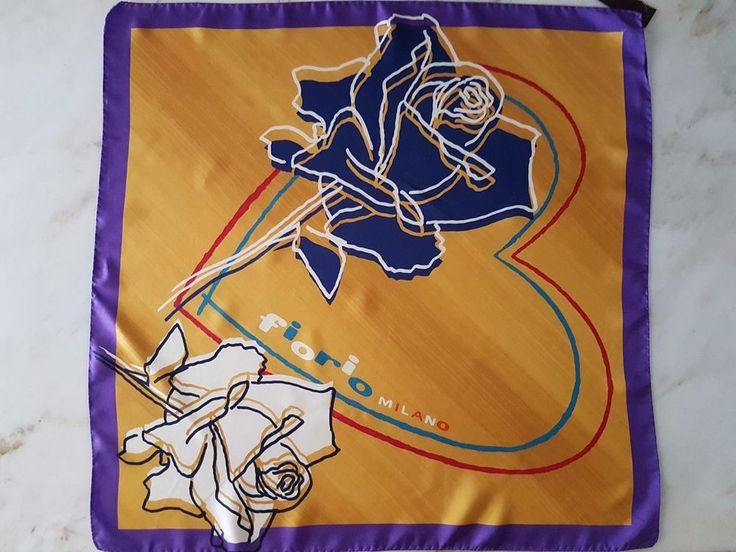 Fiorio Milano Pure Silk Womens Scarf New Yellow Purple Blue Red White Floral #FiorioMilano #Scarf