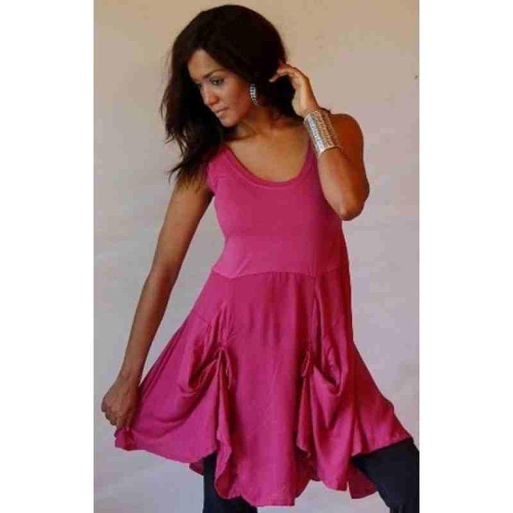 PRE-ORDER - Cute Pocket Detail Mini Dress or Tunic Top (Maroon Pink) $61.00 $61.00