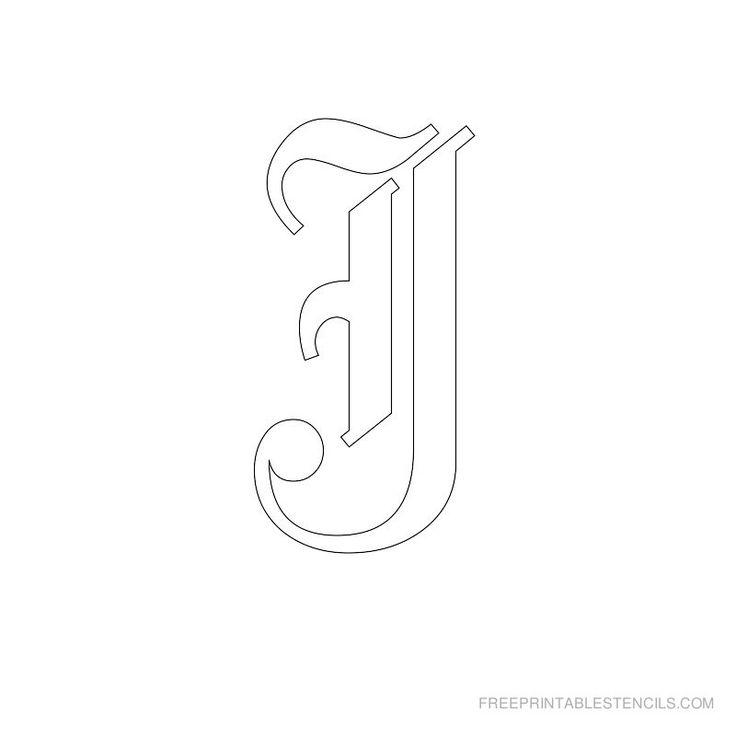 Printable Old English Alphabet Stencil J