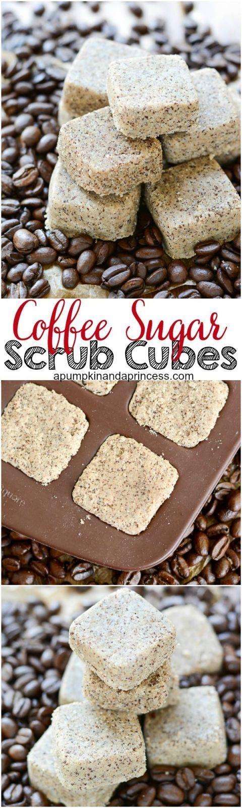 Coffee Sugar Scrub Cubes - exfoliate and replenish moisture with these coffee sugar scrub cubes. They make a great handmade gift for Christmas!