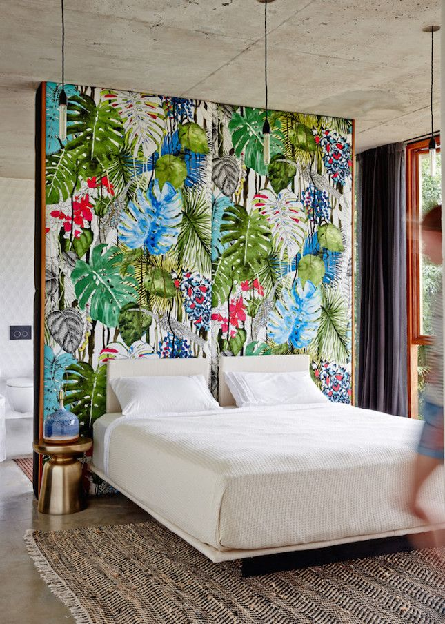 This tropical print fabric makes a retro-chic headboard.