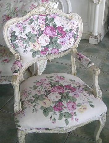 Vintage chair with floral fabric