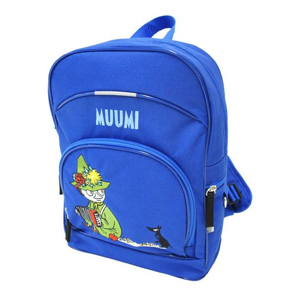 A Moomin daycare-backpack with an embroded Snufkin-Character. Front- and sidepockets with zippers and padded straps. One open pocket and one pocket with a zipper inside. Size:  24x33x11 cm.