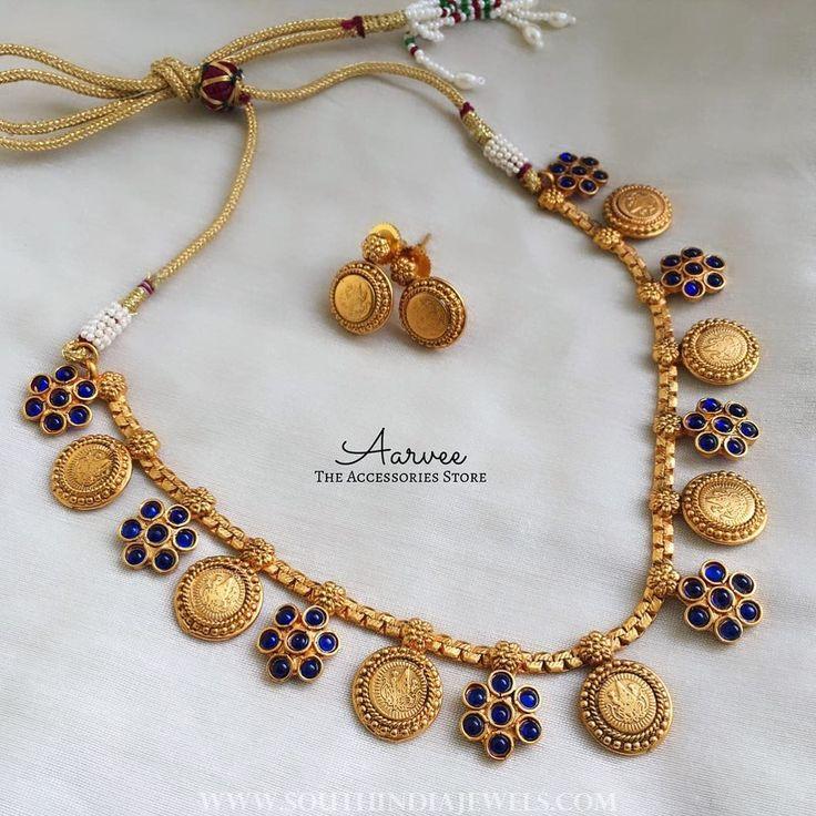 Latest+Blue+Coin+Necklace+Set