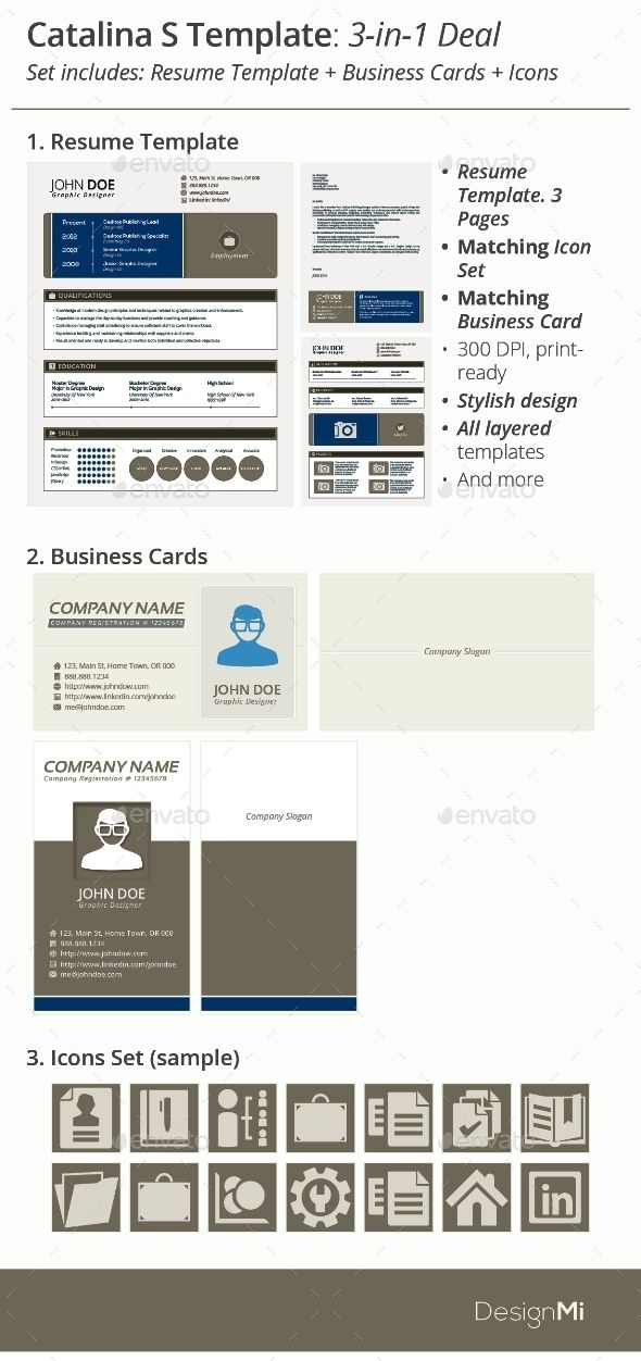 3-in-1 Deal Resume Template + Icons + Business Card, Catalina S - resume deal