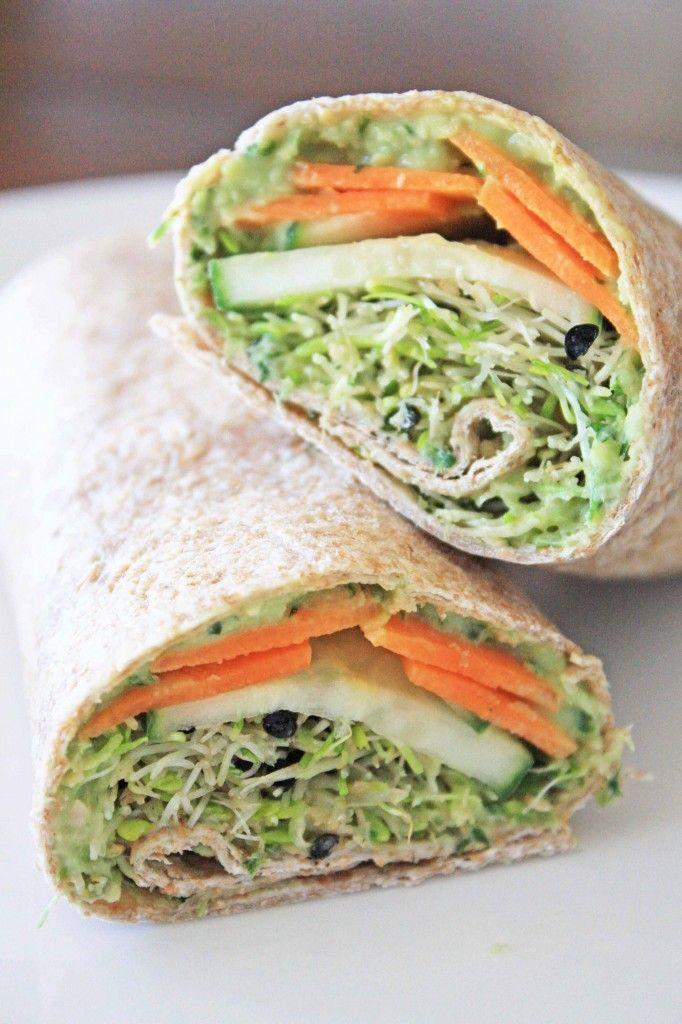 Clean Eating Hummus Wrap with Green Goddess Hummus #healthy #vegetarian #snack
