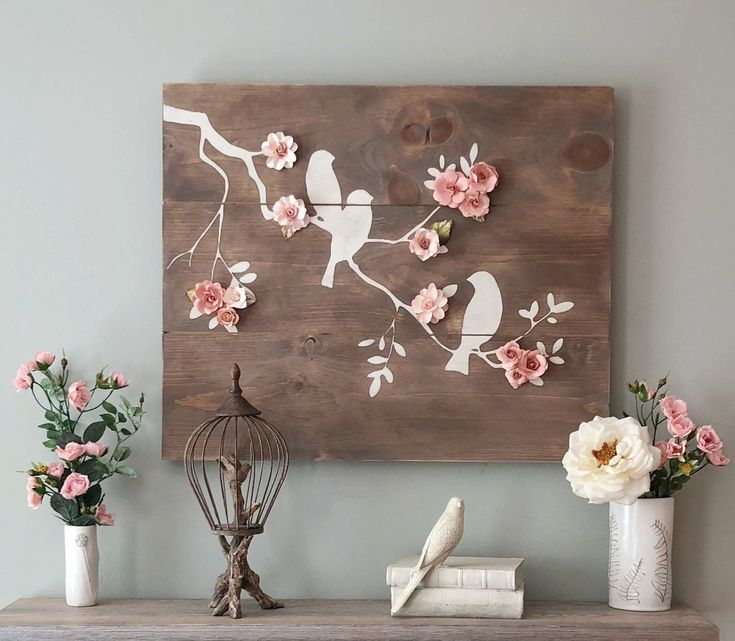 Transitional Nursery With Rustic Wood Wall: Rustic Birds On Branch Shiplap Wall Decor With Paper