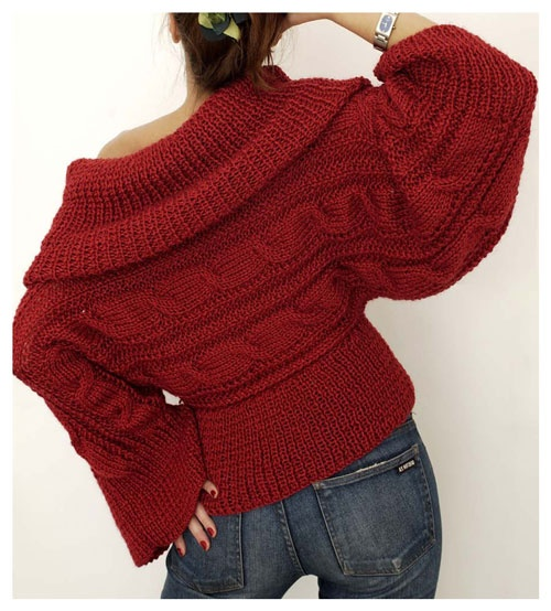 Sweater neckline in dark red yarn by Espíritu Folk