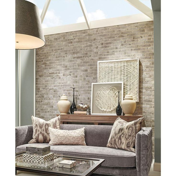 Msi Abbey Brick 2 1 3 In X 10 In Matte Porcelain Floor And Wall Tile 5 17 Sq Ft Case Nhdabbbri2x10 The Home Depot In 2021 Brick Wallpaper Living Room Accent Walls In Living Room White Brick Walls