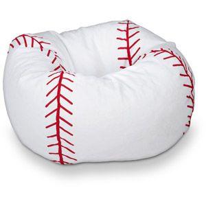 "96"" Round Vinyl Bean Bag, Baseball"