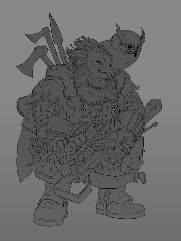 Dwarf Ranger, Maciej Rudnicki on ArtStation at https://www.artstation.com/artwork/VRbd8