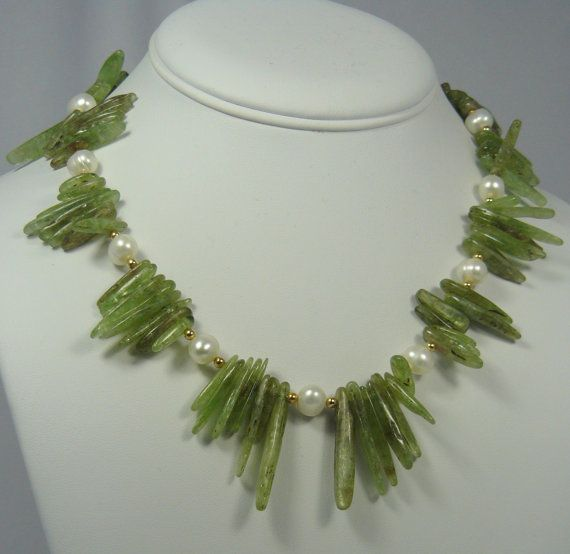 Statement Necklace Handmade Green Kyanite Sticks White Freshwater Pearls, 14K Gold-filled Rounds and Clasp  Elegant Classic 22 inches