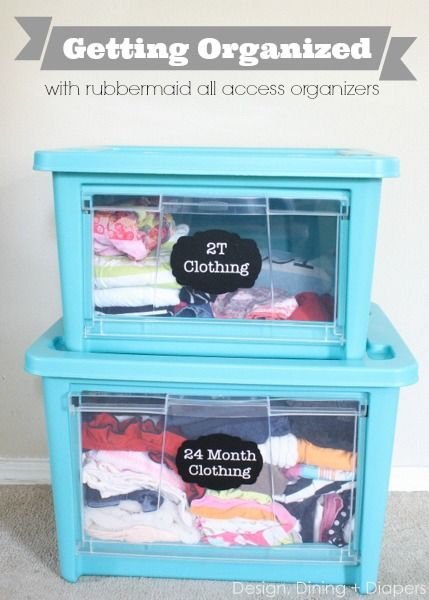 Preparing For Baby #2 With @Rubbermaid and @Home Depot! Use All Access Organizers to sort through kid's clothing and create simple vinyl labels.