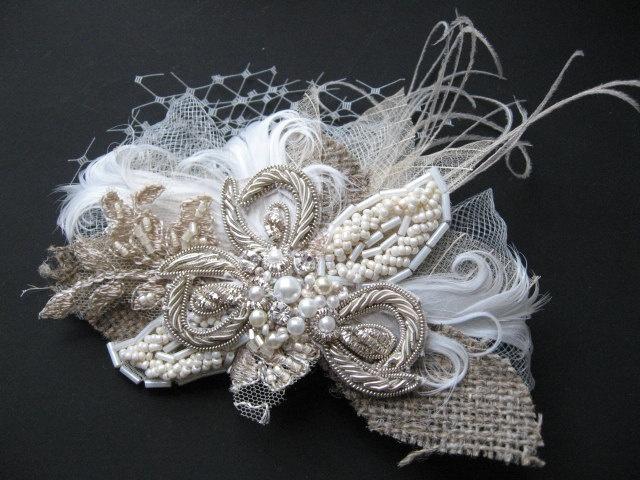Art deco Lace burlap Feather vintage fascinator hair piece IVORY by LeFlowers