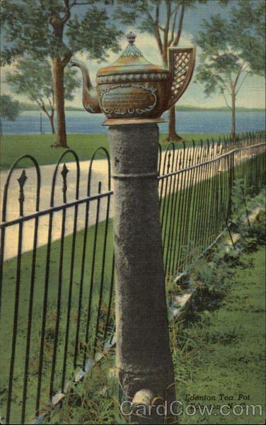 "The famous ""Edenton Tea Pot,"" Commemorating the opposition of Edenton women against the Tea Act of 1773."