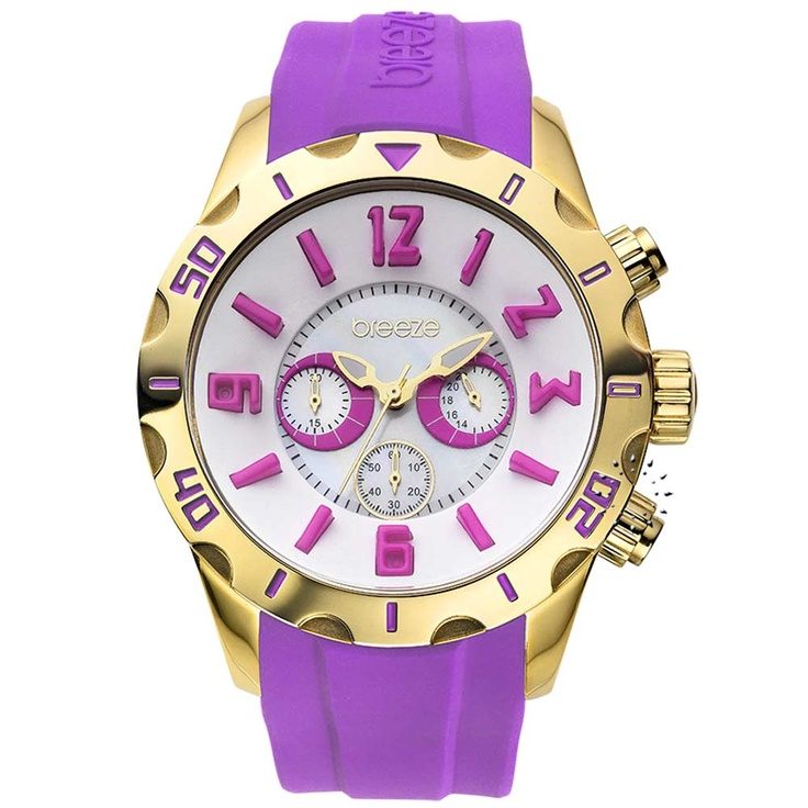 BREEZE California Dream Chrono Purple Rubber Strap Μοντέλο: 110051.8 Τιμή: 170€ http://www.oroloi.gr/product_info.php?products_id=30513