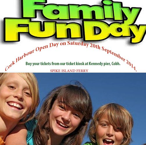 Join us for Cork Harbour Open Day on Saturday 20th September 2014. Fun for the whole family, this will be an excellent day around Cork Harbour, with many events including Coastguard Air Sea Rescue Demonstration; Spike Island Ferry rates : € 5 Adult, € 3 Child (Under 12) . Buy your tickets from our ticket kiosk at Kennedy pier, Cobh.