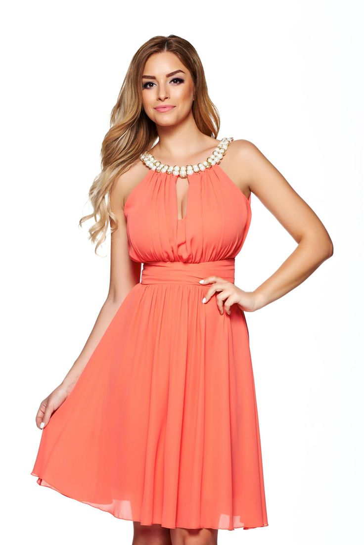 LaDonna Charm Fantasy Coral Dress, pearl embellished details, push-up cups, back zipper fastening, inside lining, voile fabric
