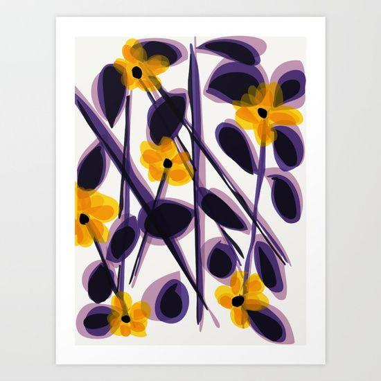 yellow and purple flowers Art Print
