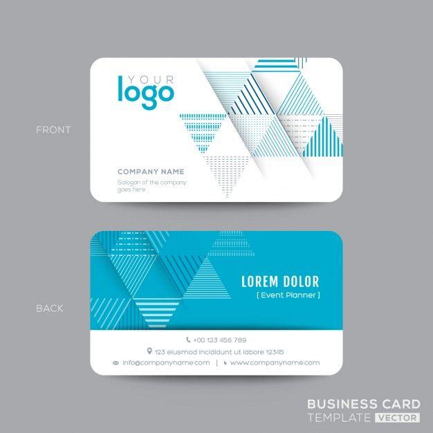 Aqua Blue Triangle conception de carte de visite moderne Vecteur gratuit