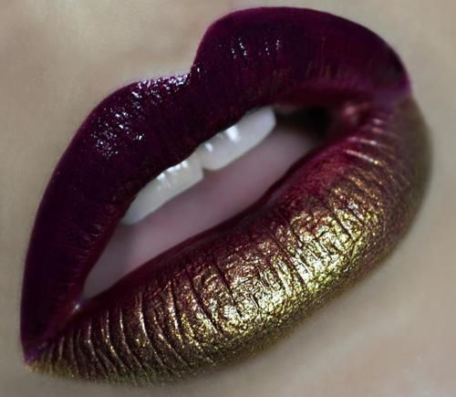 makeupbeauty: Ombre Lips, Lip Makeup, Gold Shadow, Make Up, Gold Lips, Makeup Ideas, Lipstick, Beauty, Hair