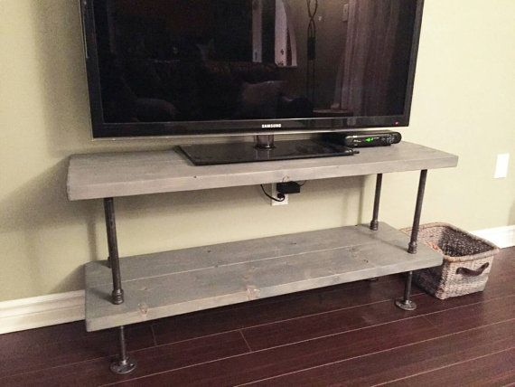 Rustic Industrial TV Stand Rustic By PipeAndWoodDesigns On Etsy