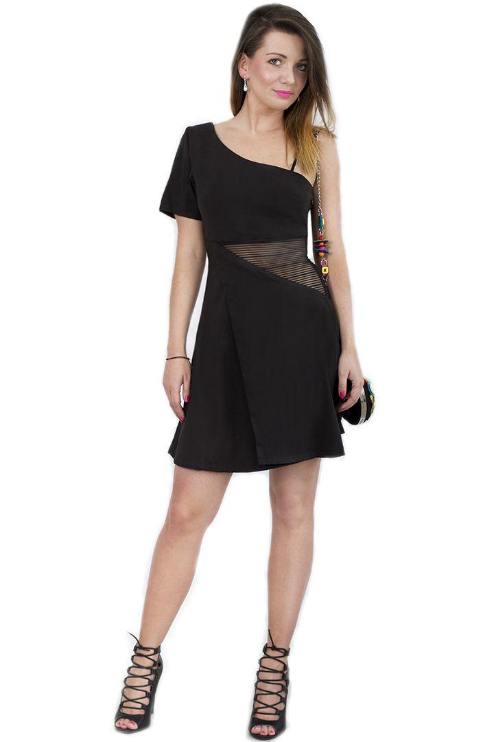 Sukienka mini kopertowa mała czarna
