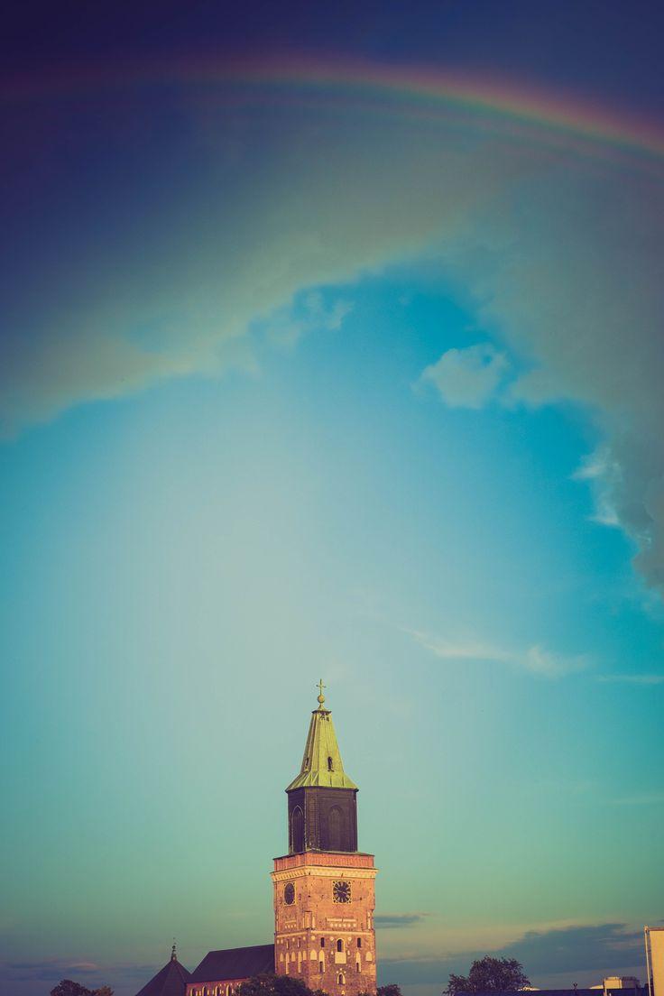 Rainbow above the city