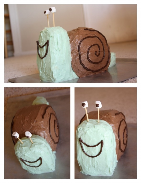 Snail cake I made for my son's fourth birthday.  Click for how to make.