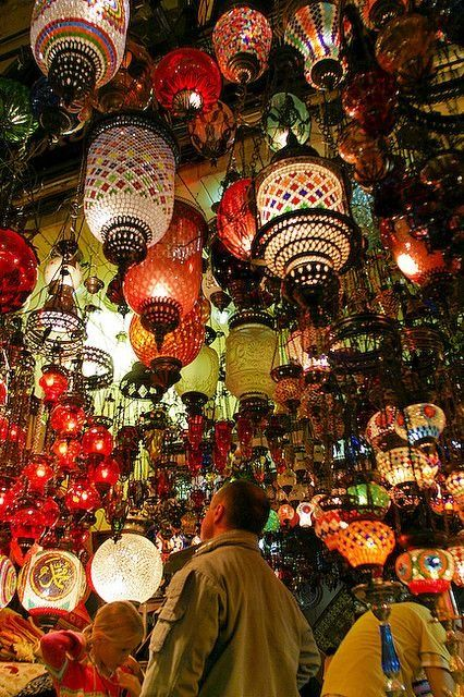 Colourful lamps at one of the shops in Grand Bazaar, Istanbul.