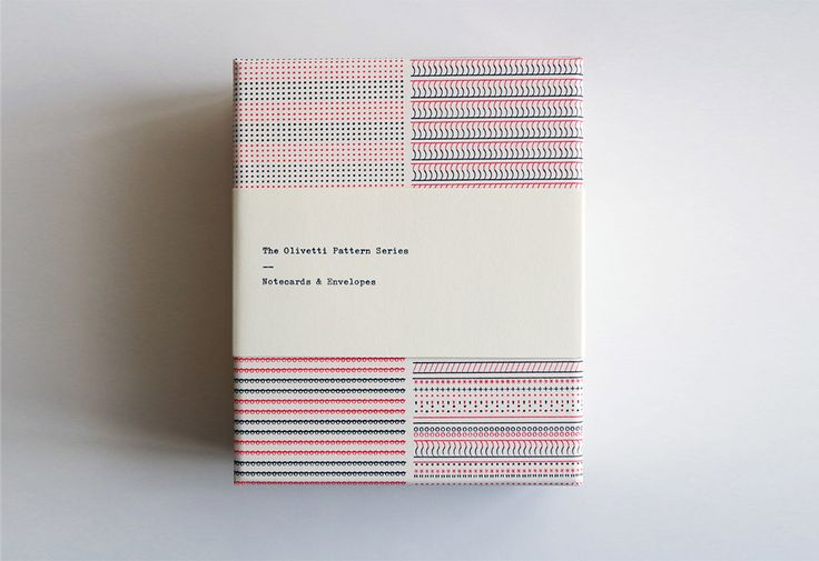 Olivetti Pattern Series notecardsby Princeton Architectural Press.  A must for type-fans and design-enthusiasts alike, this elegant set of notecards celebrates the Olivetti typewriter. Each notecard features a design created on the celebrated Olivetti Lettura 32 typewriter - designed by Marcello Nizzoli in 1963 and ardently adopted by writers and journalists of the day.  12 cards with designs in red and black type on off-white paper (3 of each design) are presented with envelopes in a gift…