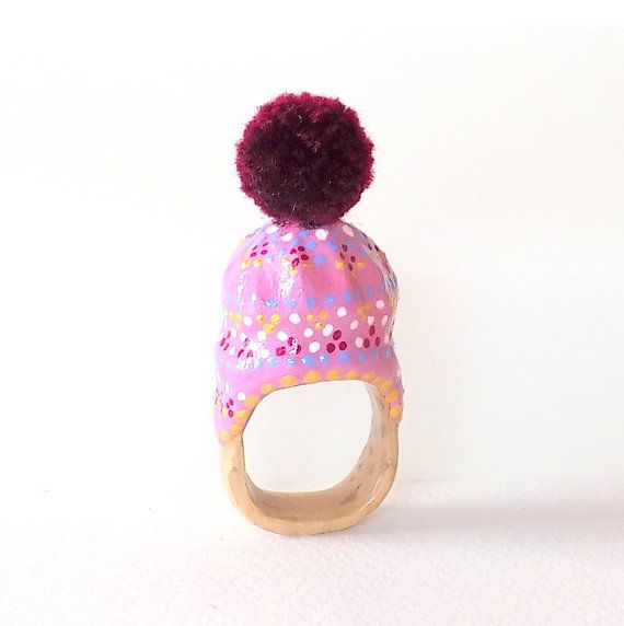 RING-Unique-OOAK-Statement Ring-made from a Wine Cork-Winter Hat-Gifts for Her-Christmas Gifts